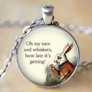White rabbit Alice Wonderland glass dome necklace
